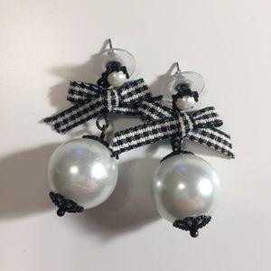 Betsey Johnson Pearl Ribbon Bow Statement Earrings
